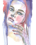 Watercolor girl face. Illustration watercolor girl face , made watercolor . on white background Stock Image