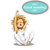Watercolor girl. In pajamas waking up royalty free illustration