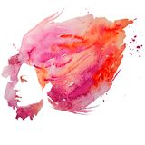 Watercolor, girl, portrait doodle, creative, lady, creativity, illustration, Stock Photos