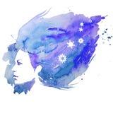 Watercolor, girl, portrait doodle, creative, lady, creativity, illustration, Royalty Free Stock Photo