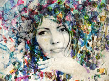 Watercolor girl with rose Royalty Free Stock Images
