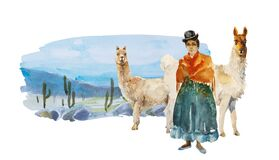 Watercolor with girl in traditional bolivian dress and two llamas with cactus desert, stones and mountains . Original