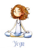 Watercolor girls. Watercolor girl with curly red hairs makes yoga Stock Photo