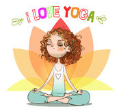 Watercolor girls. Watercolor girl with curly red hairs makes yoga royalty free illustration