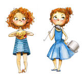 Watercolor girls. Two watercolor girls with curly red hairs stock illustration