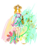 Watercolor glamour girl in hat with flowers Stock Image