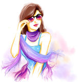 Watercolor glamour woman with glasses. Portrait of young pretty glamour girl with sunglasses. Watercolor digital imitation drawing on white background. Fashion Royalty Free Stock Photos
