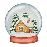 Watercolor glass ball with a house and pine trees Stock Photos