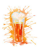 Watercolor glass of beer isolated on white Royalty Free Stock Image