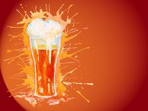 Watercolor glass of beer on the vinous background Royalty Free Stock Photos