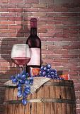 Watercolor glass of red wine, bottle, grapes and figs on the wooden barrel vector illustration