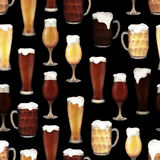 Watercolor glasses of beer royalty free illustration
