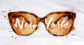 Watercolor glasses New York. Watercolor vintage glasses New York with drops and splash on crumled paper Stock Photos