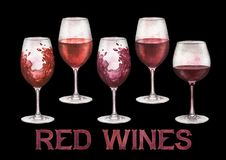 Watercolor glasses of red wines isolated on white background stock photos