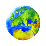 Watercolor globe. Globe Earth painted watercolor. Hand drawing. Vectorized watercolor illustration vector illustration