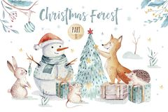 Watercolor gold Merry Christmas illustration with snowman, christmas tree , holiday cute animals fox, rabbit and. Watercolor Merry Christmas illustration with stock illustration