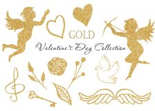 Watercolor golden angel, heart, dove, wings, treble clef, golden key. royalty free illustration
