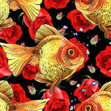 Watercolor golden fish. Hand painted drawing of outline isolated on black background Stock Image