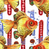 Watercolor golden fish, hand painted drawing of outline. Isolated on white background Royalty Free Stock Images