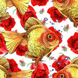 Watercolor golden fish. Hand painted drawing of outline isolated on white background Stock Photos