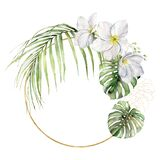 Watercolor golden frame with plumeria and palm leaves. Hand painted tropical flowers and jungle greenery isolated on