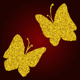 Watercolor golden glitter butterfly silhouette set  vector Royalty Free Stock Photos