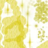 Watercolor, golden oil paints splashes. Lemon bright color texture for design, fabric, ideas, concept, fashion. Sunshine, happy mood. Flashes of the sun. Rough stock illustration
