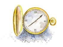 Watercolor golden pocket watch. Vintage golden pocket watch on watercolor splotches. Watercolor hand drawn illustration royalty free illustration