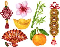 Watercolor Gouache Asian style and Chinese Japanese new year elements hand paint stock images