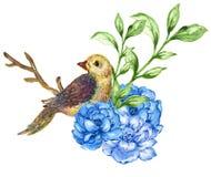 Watercolor gouache Bird and flowers bouquet Blue Violet design f vector illustration