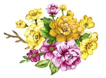 Watercolor gouache bouquet elegant vintage. Watercolor gouache elegant vintage yellow and pink purple or violet bouquet flower royalty free illustration