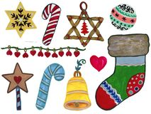 Watercolor gouache Christmas party elements candy cane, Christmas star, Christmas decorations, ball, wreath, christmas sock, bells. And gifts hand paint vector illustration