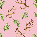 Watercolor gouache dry tree leaves seamless pattern. Watercolor dry tree leaves branches seamless pattern set Hand painting  botanical garden flower  green Royalty Free Stock Photography