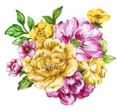 Watercolor gouache elegant vintage yellow and purple or violet f. Watercolor gouache elegant vintage bouquet yellow and purple or violet flower vector illustration