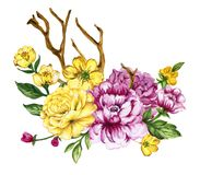 Watercolor gouache elegant vintage yellow and purple lower. Watercolor gouache elegant vintage bouquet yellow and purple flower hand painted royalty free illustration