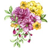 Watercolor gouache elegant vintage yellow and purple or violet f. Watercolor gouache elegant vintage bouquet yellow and purple or violet flower hand painted royalty free illustration