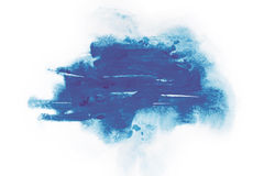 Watercolor, gouache paint. Blue Abstract stains splatter splashes with rough texture. Royalty Free Stock Photo