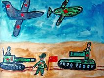 Military parade painted by child. Watercolor and gouache painting of a military parade made by child stock illustration
