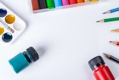Watercolor, gouache, pencils and clay on a white background with copy space stock images