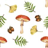 Watercolor gouache vintage autumn and fall seasons seamless pat