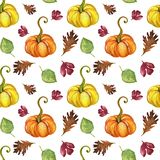 Watercolor gouache vintage autumn and fall seasons seamless pat stock photography