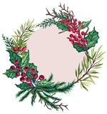 Watercolor Gouache vintage retro hand painted Christmas wreath frame decorative fir tree branches for winter holidays card poster. On white background stock illustration