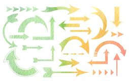 Watercolor gradient  arrows. Watercolor gradient  textured arrows Green, yellow, orange vector illustration