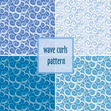 Watercolor gradient wave curls seamless set of patterns Stock Photos