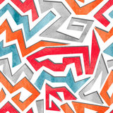 Watercolor graffiti colorful seamless pattern in red, orange and blue colors. Stock Photography