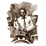 Watercolor graphic drummer at a concert. Royalty Free Stock Photos