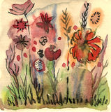 Watercolor graphic field Stock Photos