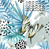 Watercolor graphical illustration: exotic butterfly, tropical leaves, doodle elements on grunge background. Abstract palm, monstera leaf seamless pattern. Hand stock illustration