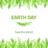 Watercolor grass border. Green floral decoration. Earth day card Stock Photos