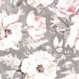 Watercolor Gray Background Floral Pattern Flower Seamless Pattern With Pink Flowers And Leaves On Royalty Free Stock Photography